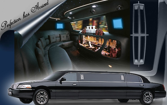 This Black Lincoln Town Car Stretch limousine holds up to 8 passengers.